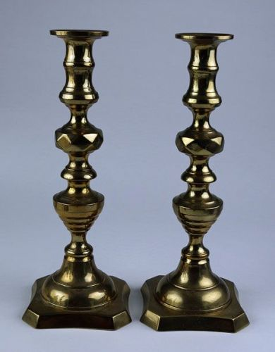 Brass Beehive and Diamond Candlesticks (Pair)