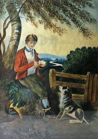 Boy Cutting Apple with Dog (Watercolor)