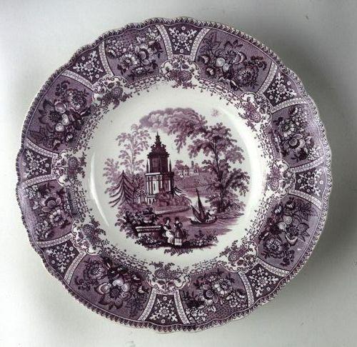 Purple Transfer Staffordshire Plate Grecian Temple
