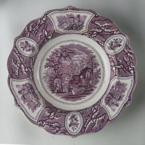 Purple Transfer Staffordshire Plate Valencia