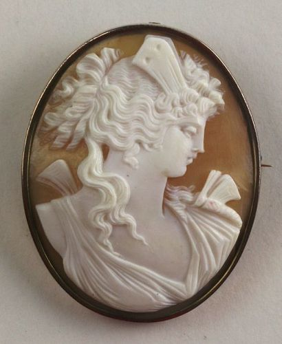 Carved Cameo Pin in Rose Gold Frame