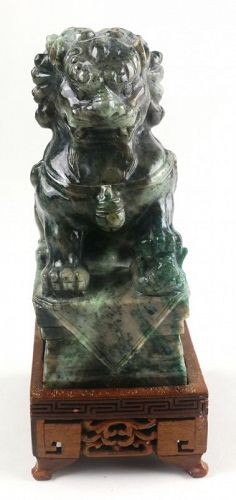 Chinese Carved Jade Buddhistic Lion, Early 20th C.