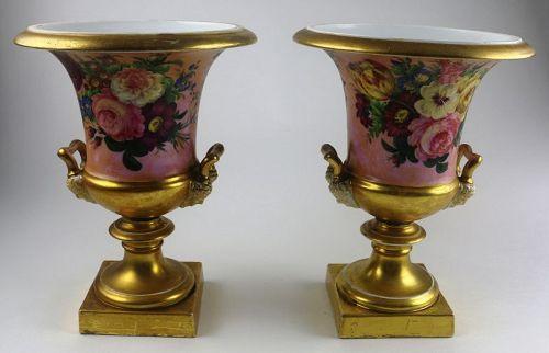 Old Paris Neo-Classical Hand Painted Campana Vase, Pair, c. 1810-20