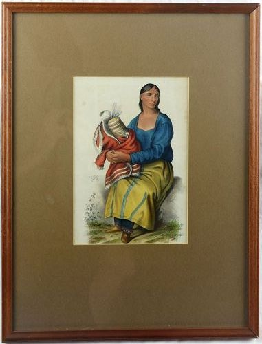 """McKenney & Hall Original Hand Painted Lithograph, """"Chippeway Widow"""""""