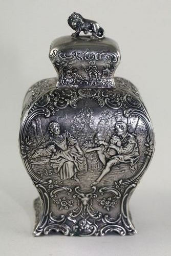 Hanau German Silver Bombe Tea Caddy