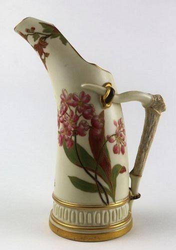 Royal Worcester Porcelain Hand Painted Horn Pitcher
