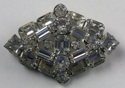 Weiss Clear Rhinestone Brooch - Diamond Shape