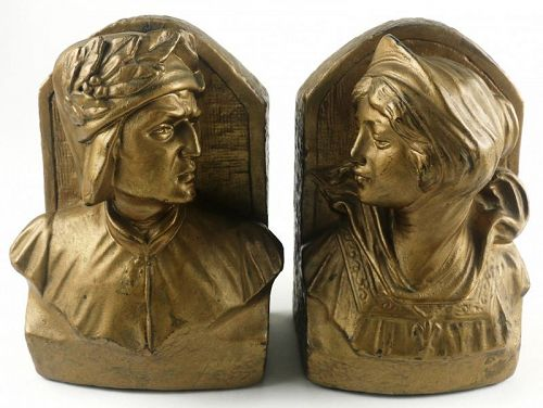 Armor Bronze Dante and Beatrice Book Ends