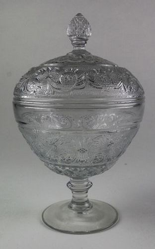 Early American Sandwich Low Standard Compote with Lid 1924