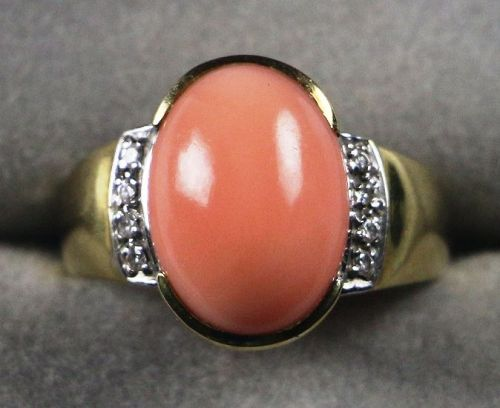 14K Gold Ring with Angel Skin Coral Cabochon and Diamonds