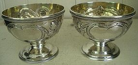 Pair Gorham Coin Silver Round Gilt-Lined Salts, c. 1850