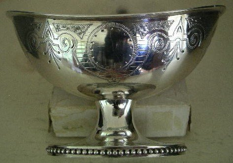 Early Philadelphia Silver Gilt Lined Footed Salt, 1860