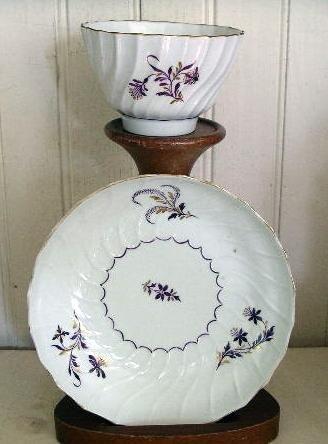 English Worcester Porcelain Tea Bowl and Saucer, 1780