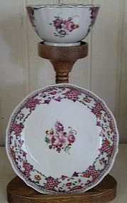 Chinese Export Famille Rose Tea Bowl, Saucer, 1780