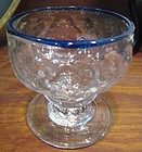 Stiegel Type Glass Footed Salt with Blue Glass Rim 1780