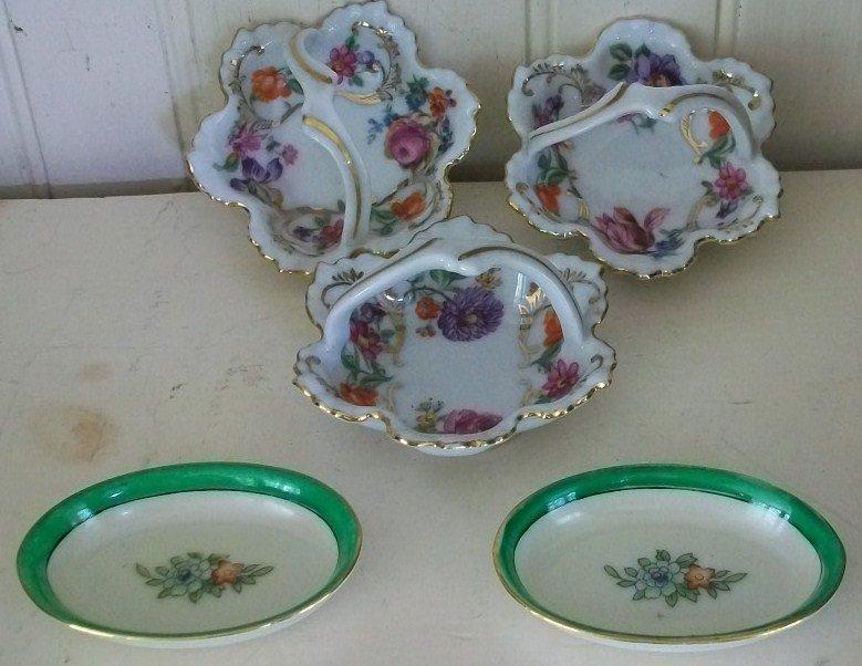 Set of 3 Porcelain Nut Dishes and 2 Noritake Salt Dips