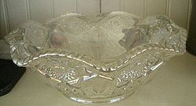Octagonal White Carnival Pressed Glass Bowl, c. 1950