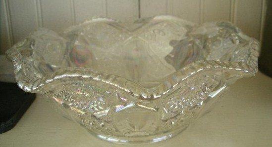 Octagonal White Carnival Pressed Glass Bowl, c. 1950