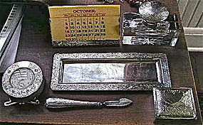 Six Piece Meridian Sterling Desk Set, c. 1897