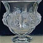 French Lalique Clear & Frosted Glass Bluebird Vase