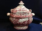 Joseph Heath & Co. Red & White Covered Sugar, 1820-30
