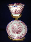English Davenport Red & White Tea Bowl & Saucer 1830