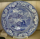 English Adams Blue & White Pottery Plate, c. 1820