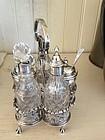 Miniature English Sterling & Glass 5 Bottle Cruet Set