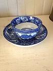 English Blue & White Pearlware Tea Bowl & Saucer, 1790