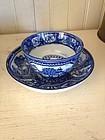 English Blue & White Pearlware Tea Bowl & Saucer, 1790