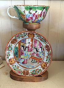 Chinese Export Porcelain Mandarin Cup & Saucer, 1810