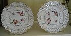 Pair English Molded Stone China Plates, Masons, 1840