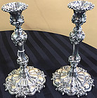 Pair of Triple Silver Plated Victorian Elkington Candlesticks, c. 1860