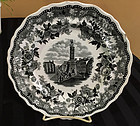 English Historical Black & White Staffordshire Plate, c. 1820-30