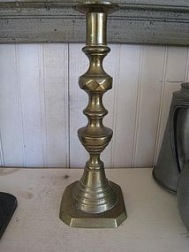American Beehive and Diamond Pattern Brass Single Candlestick, c. 1870