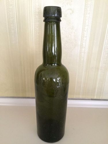 Green Beer Bottle with Etching, c. 1950