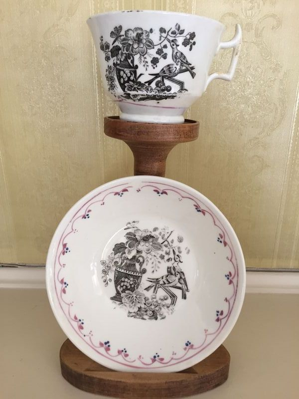 English Staffordshire Black & White Cup and Saucer, c. 1820