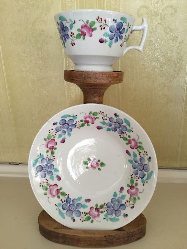 English Coalport-Type Bone China Cup and Saucer, c. 1815-25