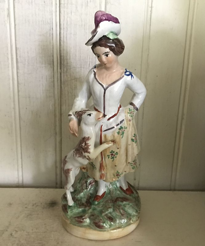 English Staffordshire Figure, c. 1880, Young Girl