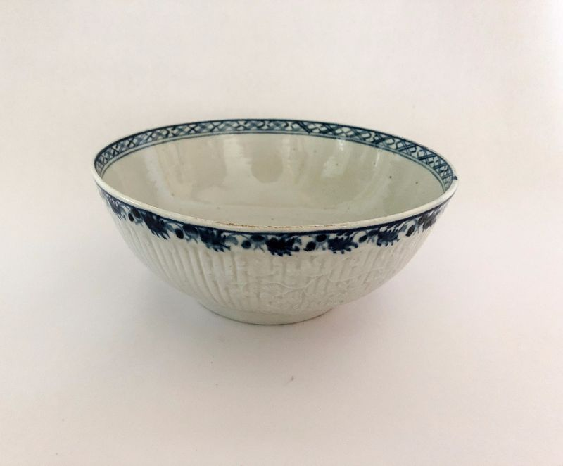 English Worcester Porcelain Blue & White Bowl, c. 1758