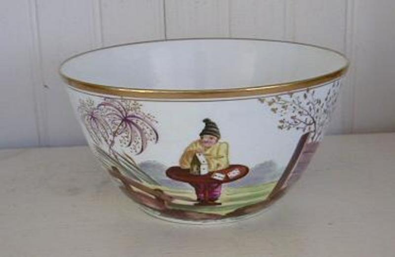 Rare Early Handpainted Minton Porcelain Bowl, c. 1800