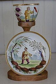 Handpainted Minton Porcelain Cup and Saucer, c. 1800