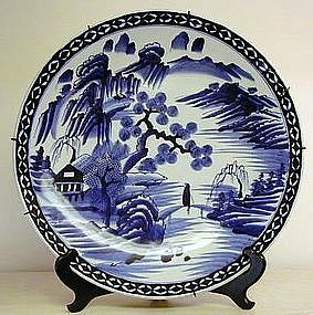 Japanese Porcelain Blue & White Imari Charger, c. 1870
