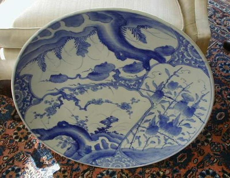 Japanese Arita Blue & White Porcelain Charger, c. 1870