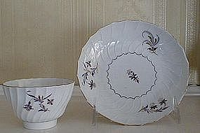 English Worcester Porcelain Tea Bowl & Saucer, c. 1790