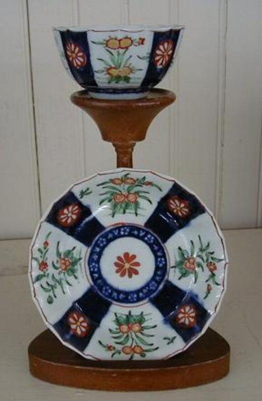 English Worcester Paneled Tea Bowl and Saucer, c. 1765
