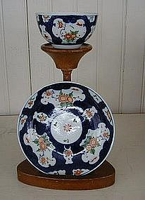 English Worcester Porcelain Tea Bowl & Saucer, c. 1765