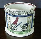 "Staffordshire Child's Mug, ""Punch and Judy,"" c. 1820"