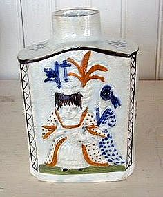 English Prattware Tea Canister, c. 1790
