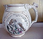 English Opaque China Jug with Griffin Handle, c. 1870